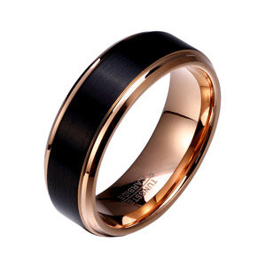 Image 2 - Soul Men 1 Pair Man & Woman Black & Rose Gold Color Tungsten Carbide Marriage Wedding Rings Set 8mm for Boy 6mm for Girl