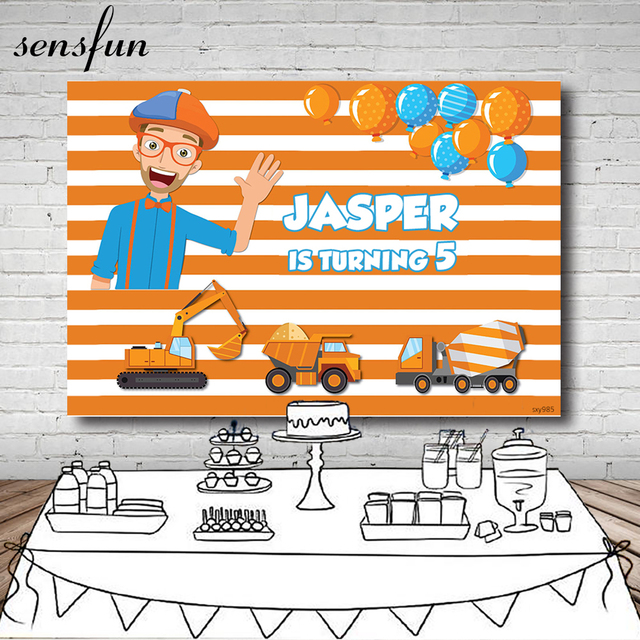 Sensfun Background For Boys Birthday Photography blippi Construction Party Banner Striped Backdrop navvy Dump Truck Photo Studio