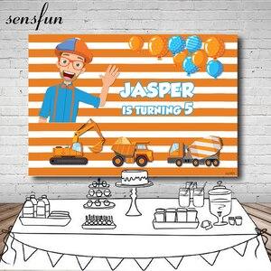 Image 1 - Sensfun רקע עבור בני יום הולדת צילום blippi בנייה מסיבת הבאנר תפאורת פסי פועל דחק Dump משאית תמונה סטודיו