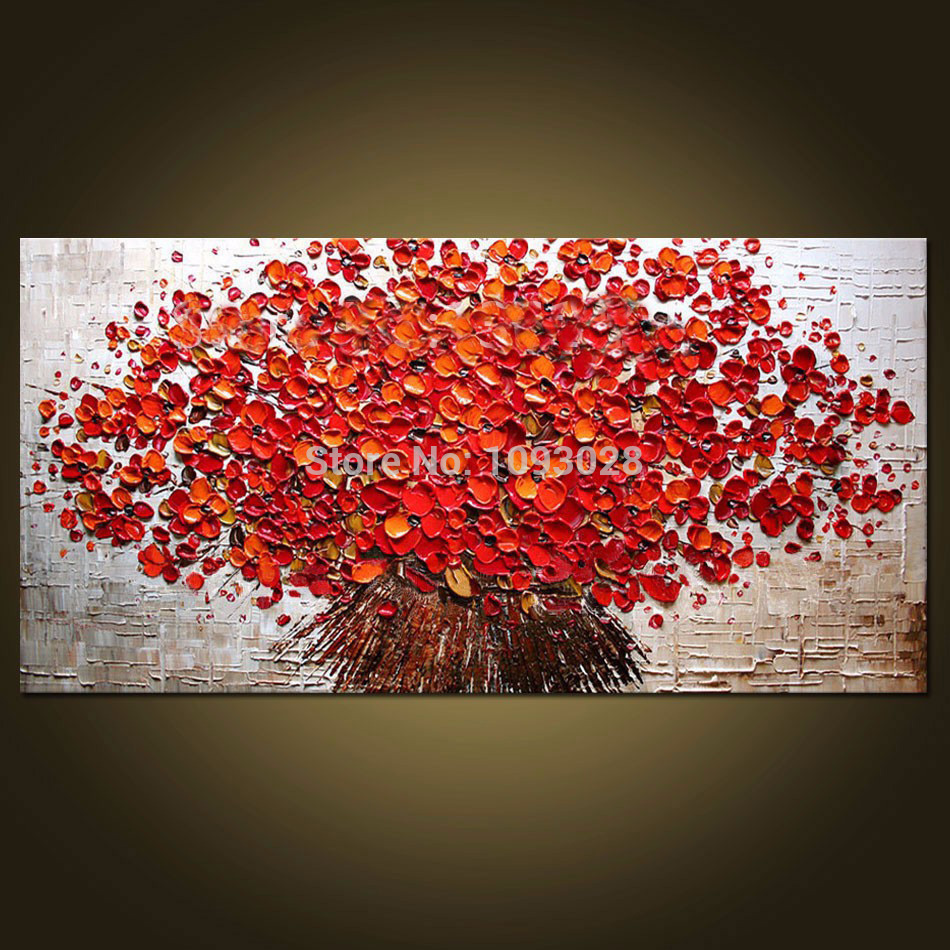 Free shipping large hand-painted abstract modern wall painting colorful red flowers knife oil painting on canvas wall dec