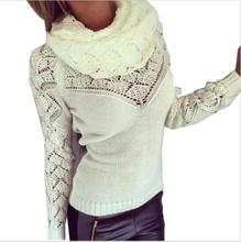 female sweater computer knitted scarf collar pullovers button woman sweaters 2019 winter love style solid fashion