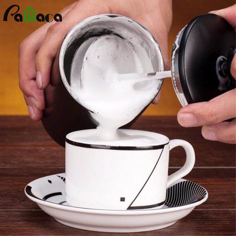 2017 New Stainless Steel Manual Milk Frother Foamer Rother Cappuccino Coffee Milk Foaming Maker Stirrer Kitchen Accessories