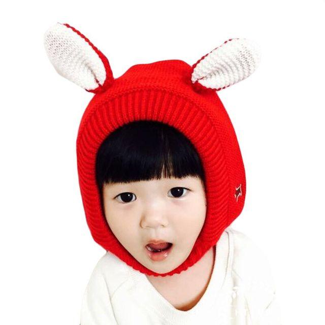 f93e7eb1de3 2018 Winter Warm Wool Knitted Children Baby Boys Girls Cute Bunny Ears Caps  Fleece Hats For Kids Skullies Beanies Hat Bonnet