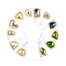 1 Wheel Big Crystal Nail Gems Rhinestone for Art Glass Geometric Blossom Jewelry Diamond Stone Decoration Manicure