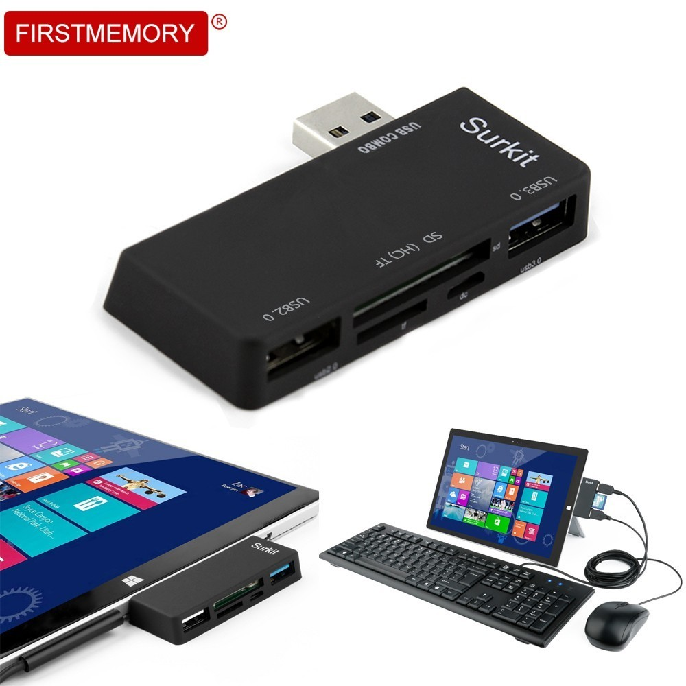FirstMemory Surface Pro 3,0 концентратора USB-A к USB3.0 и USB2.0 с SD/TF карты Micro USB Мощность Вход адаптер разветвитель для microsoft ...
