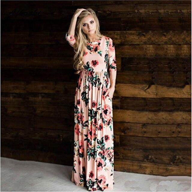 a2f58481a0 Aikooki Women O-Neck Dress Beautiful Floral Print Boho Summer White Long Maxi  Dress Bandage Party Sundress Vestidos Robe Femme