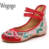 Wegogo וינטג הנשים Flats נעלי בייג 'ינג ישנות בלט מרי ג' יין נעלי בד שטוח מקרית נעלי בלט גבירותיי טווס בתוספת גודל 43