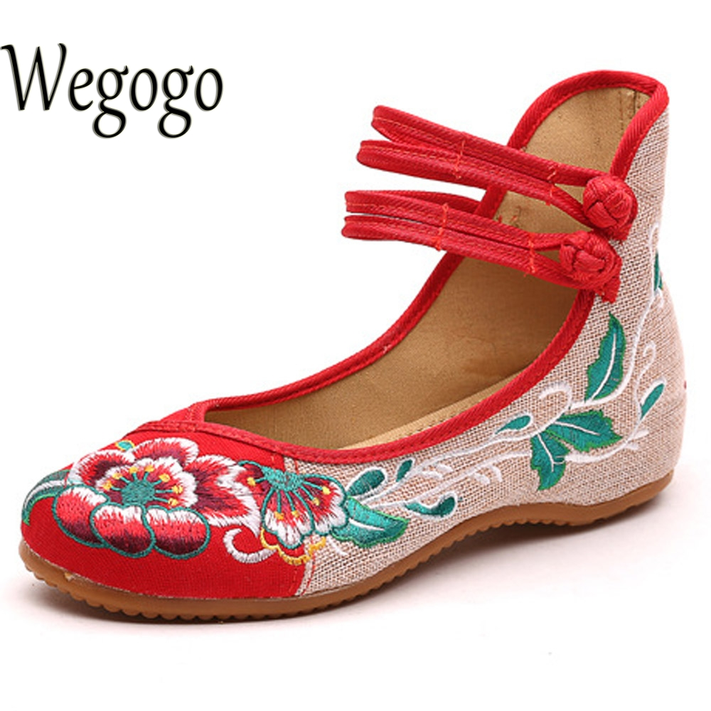 Wegogo Vintage Women Flats Shoes Old Beijing Mary Jane Ballet Shoes Peacock Casual Cloth Flat Ladies Ballet Shoes Plus Size 43 meotina women flat shoes ankle strap flats pointed toe ballet shoes two piece ladies flats beading causal shoes beige size 34 43