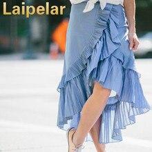 Laipelar Midi Skirt Vintage Skirt Summer 2018 Women High Waist Asymmetrical Ruffled Irregular Blue White Striped Pleated Skirt retro high waisted ruffled houndstooth midi skirt