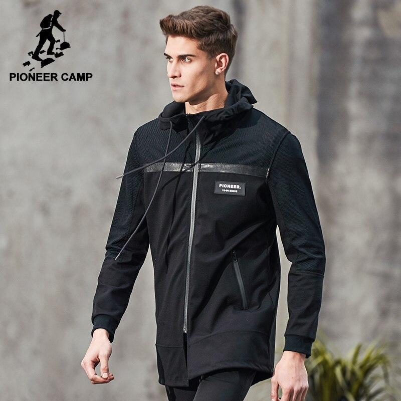 Pioneer Camp nuevo otoño Chaqueta larga hombres marca-ropa moda chaqueta negro calidad superior masculina hombres abrigo AJK703031