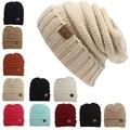 Las mujeres de Los Hombres de Invierno de Punto Gorro de Lana Unisex Folds CC Casual etiquetado Gorros Sombrero Color Sólido Hip-Hop Beanie Hat Skullies Gorros