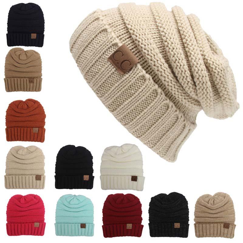 Women Winter Knitted Wool Cap CC Beanies