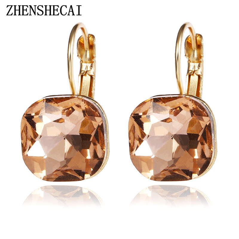 Gold Plated Earring Women Girl Square Stud Earrings Rose Gold Wedding Birthday Gift Cubic Zirconia