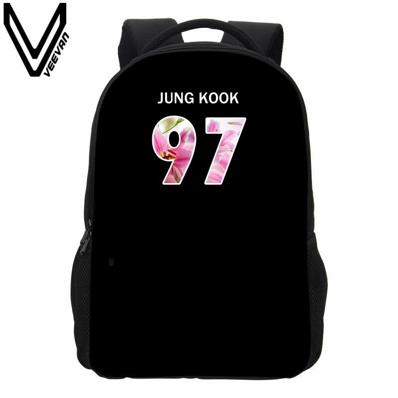 Veevanv Men's Backpack New Bts Exo Got7 Bap Printing Backpack School Bookbag Childern Fashion Hip Hop Mochila Girls Shoulder Bag