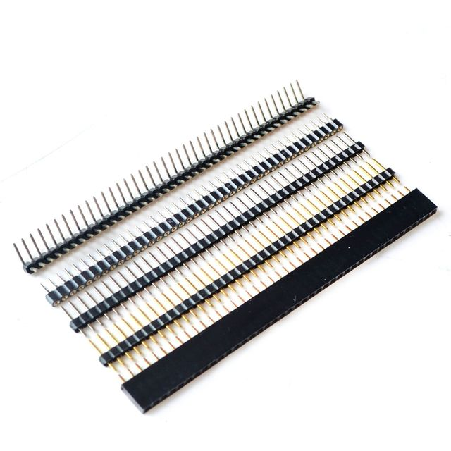 10pcs 40 Pin Single Row Female Male Pin Header Connector GOLD 40 Pin Single Row round hole Right Angle Connector Strip