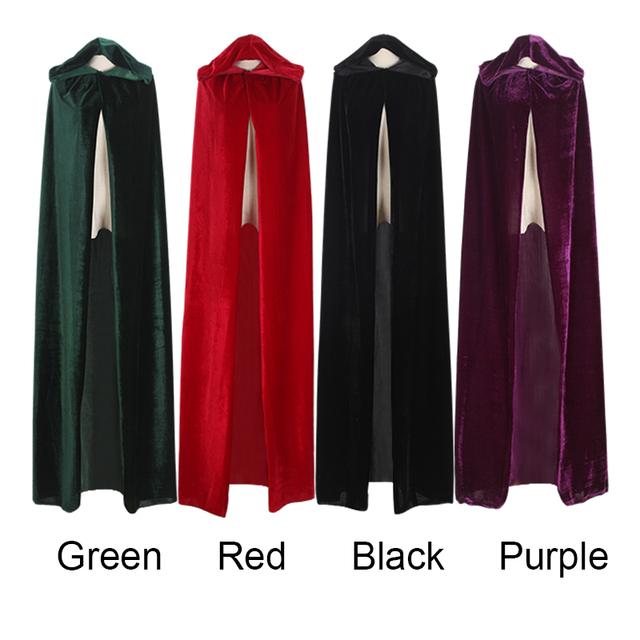 Frete Grátis Adulto Bruxa Longo Roxo Preto Vermelho Verde Capuz Casacos e Capas de Halloween Trajes de Halloween para As Mulheres Homens