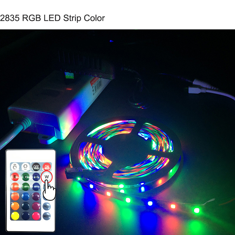 ZAHORIO LED Strip Light RGB LED 5050 SMD 2835 Flexible Ribbon RGB Stripe 5M 10M 15M tape diode DC 12V+Remote Control+ Adapter EU15