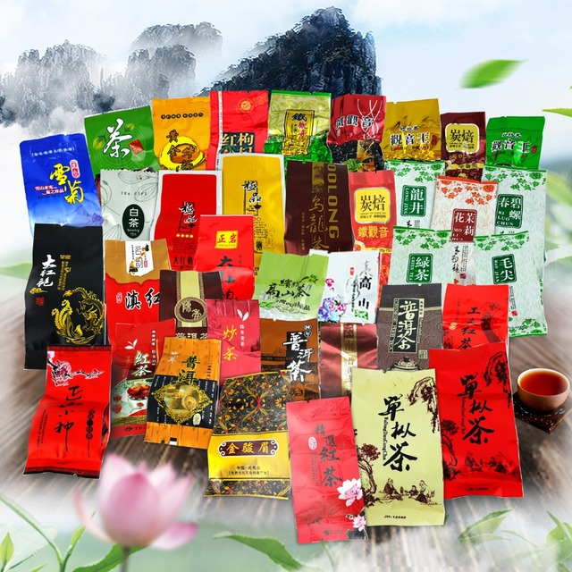 35 Different Flavors Chinese Tea including Oolong Puer Black Green Herbal Flower Tea Health Care Food Gift 215g Chinese Cha