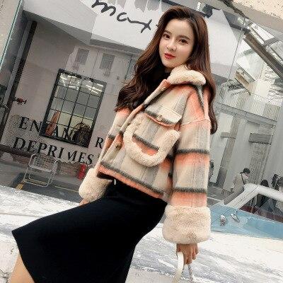 De Vestes Épais 2018 Green Manteau Étudiants Outwear Laine Poule Courte Gc563 Lâche orange Coréens Tinteen Automne Hiver Femmes Pied IgxCZwSqw
