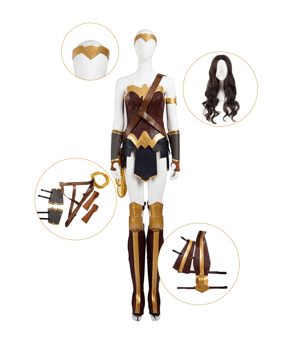Custom Made Wonder Woman Diana Cosplay Costume Full Set Wig Shoes Cover Included