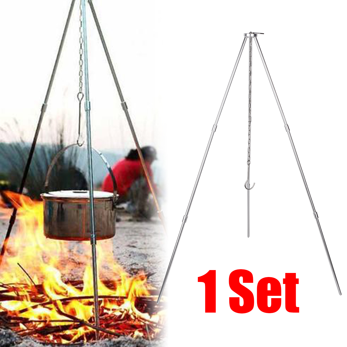 BBQ Grill Aluminum Tripod Portable Camping Picnic Cooking Tripod Hanging Pot For Outdoor Garden Camping Picnic Cooking-in Outdoor Stoves from Sports & Entertainment