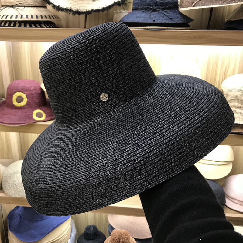 FGHGF Women Sun Hats Wide Brim Summer Straw Hats 2018 New Natural Black fashion Floppy Beach Boater Hat Cap Kentucky Derby Hats