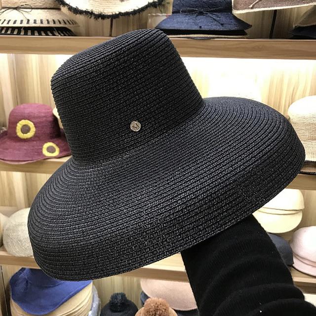 70561f869181f FGHGF Women Sun Hats Wide Brim Summer Straw Hats 2018 New Natural Black  fashion Floppy Beach Boater Hat Cap Kentucky Derby Hats