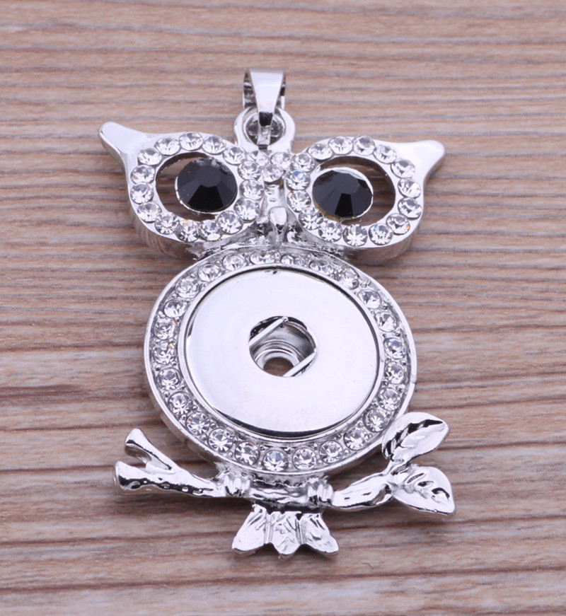 181ce0742ebe 10 unids rhinestone Owl Snap Colgantes fit 18mm nuevo botones de moda DIY  accesorios collar regalo mujeres joyería de plata