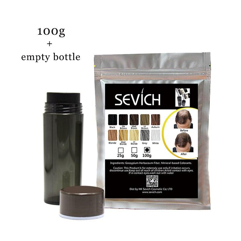Fibras de construcción vacía botella + Sevich 100g recarga pelo de bolsa espesar más pérdida de pelo 10 colores Anti queratina producto para el cabello