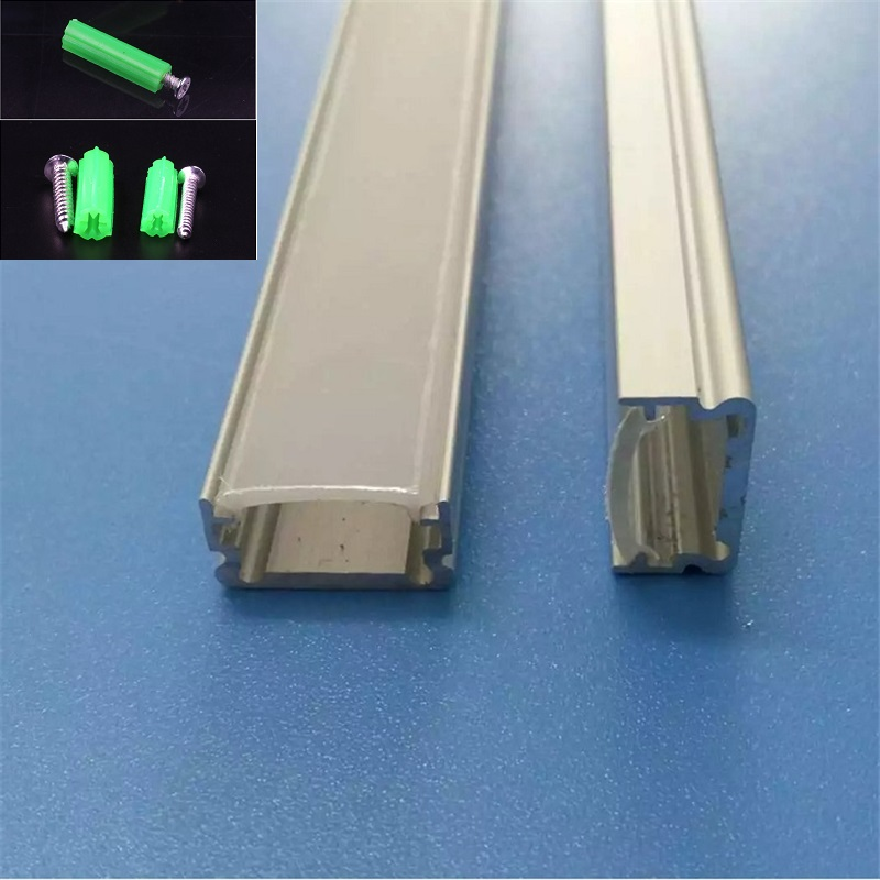 10/20/30/40 Pcs 2m Aluminum Profile For Led Strip,flat Tape Light Channel With Milky/transparent Cover For 12mm Pcb