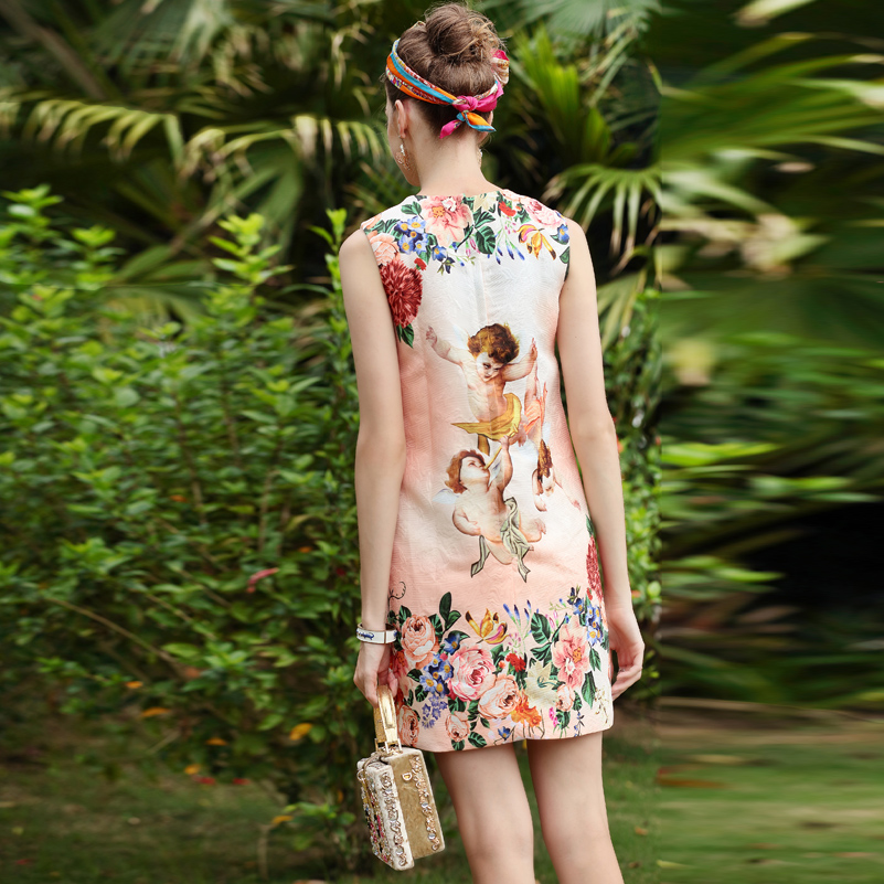 Designer Ange De Bébé Piste Qualité Casual Haute D'été Floral Sans Cristal Femmes Manches Mode Robe Imprimé Rose B5fgxxvqw
