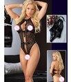2017 Nova chegada hot sale sexy lingerie bow black lace teddy lingerie produtos do sexo Abrir bra babydoll sexy roupa interior das mulheres