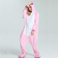 Family Animal Pajamas Unicorn Sleepwear Cosplay Flannel Warm Hooded Christmas Pjs For Adults Kid All In
