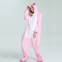 Family Animal Pajamas Unicorn Sleepwear Cosplay Flannel Warm Hooded Christmas Pjs For Adults Kid All In