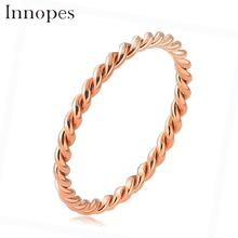 Innopes Woman Fashion Small Ring Silver Rose Gold Color Twisted Stainless Steel for Women Wedding Party