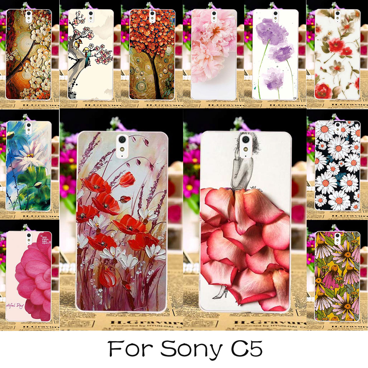 AKABEILA TPU Plastic Painted Cases Cover For Sony Xperia C5 Ultra E5553 Dual E5506 E5533 E5563 6.0 inch Case Back Cover Housings