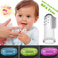 BPA Free!Super Safe&Soft 100% Food Grade Silicone Finger Baby Tooth Brush Set W/Case for Infant Gum Tooth Clear Massage