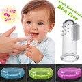 Bpa free! super seguro y suave silicona de grado alimenticio 100% bebé dedo cepillo de dientes set w/case para infant tooth gum transparente masaje