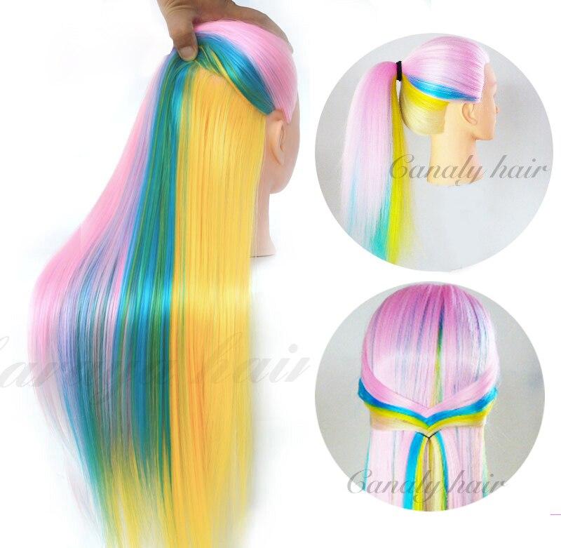 22 ''tête de coiffure professionnelle colorée perruque tête Stand femmes maquillage coiffure poupée factice tête d'entraînement Yaki tête de Mannequin de cheveux