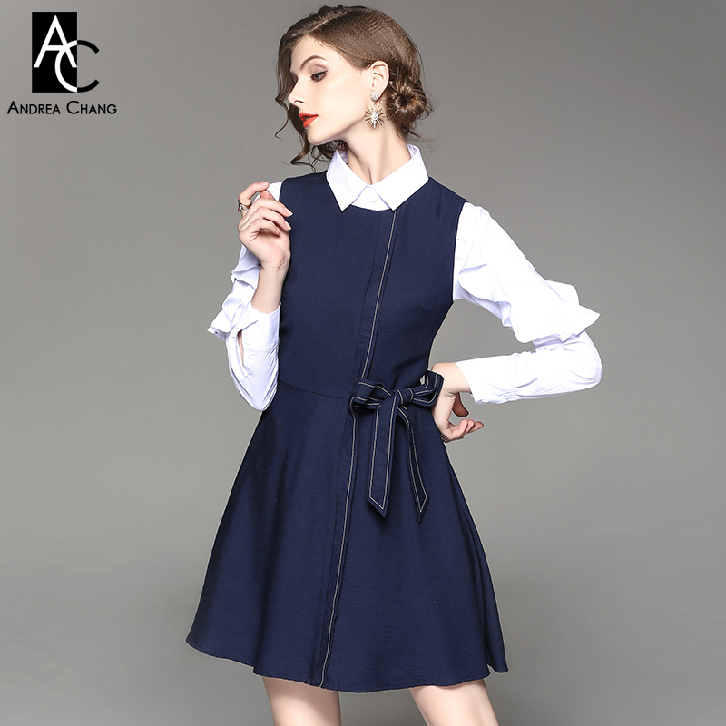 3a96f9e32b7 autumn winter woman outfit dress set white shirt ruffled sleeve dark blue  tank dress with belt waist bow cute dress set outfit
