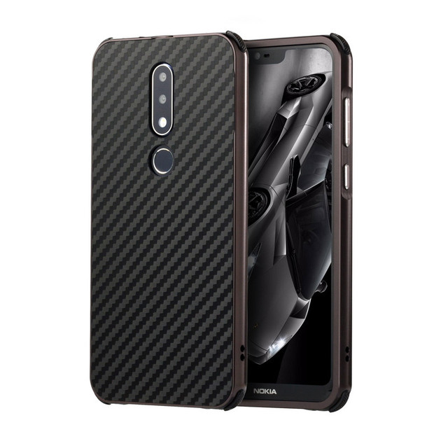premium selection 8faf1 2210f US $6.2 31% OFF|Luxury Metal Bumper Case For Nokia X6 Case 2 IN 1 Pull&Push  Carbon Fiber PC Hard Case For Nokia 6.1 Plus Metal Back Cover Fundas-in ...