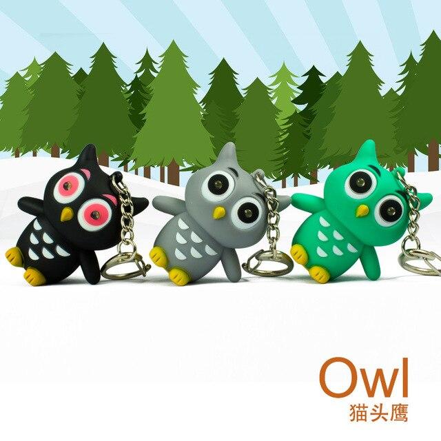 10pcs The cute owl 3 color big eyes sound light keychains mobile phones accessories handbag pendant gift for children wholesale
