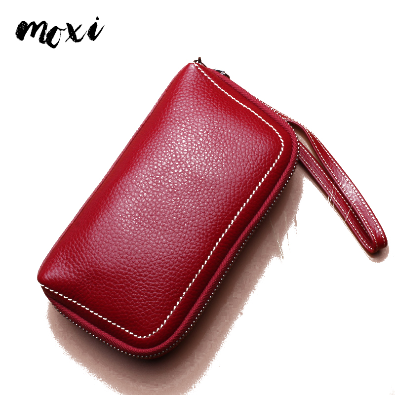 MOXI Wallet Clutch-Bag Card-Pocket Leisure-Phone Real-Leather Fashion Women Ladies Zipper