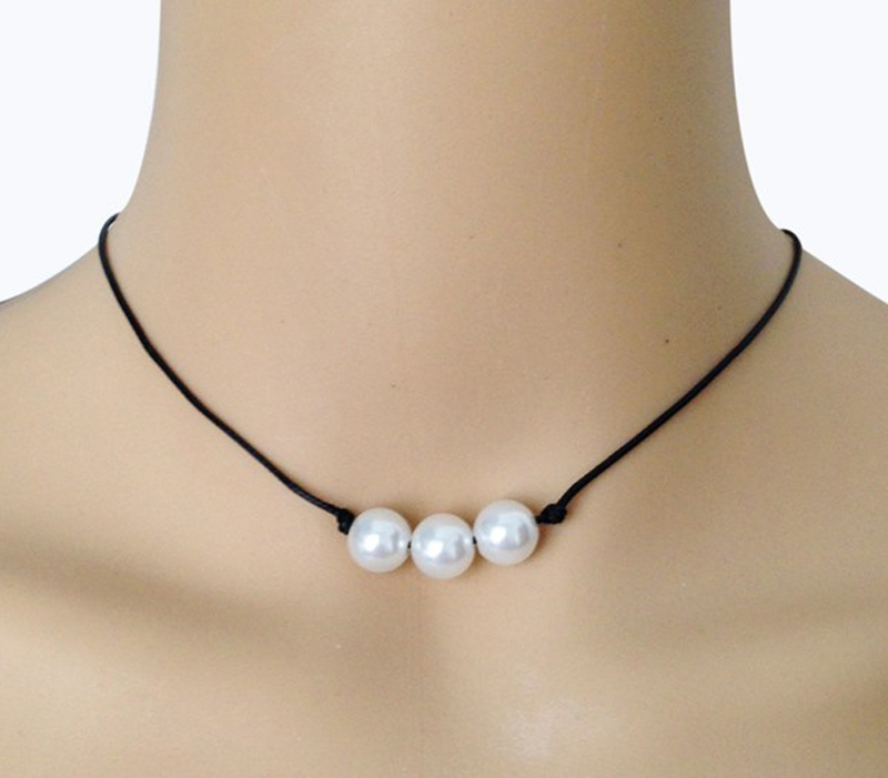 10mm Triple Freshwater Pearl Necklace on Black Genuine Leather Choker Cultured Pearl Jewelry Lady's Accessories Gift for Friends