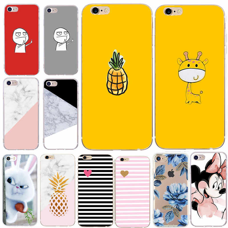Case Cover For iphone 6 6S 7 8 Plus XS X SE 5 S 5S Soft Cartoon Silicone Flower Marble Cute Cartoon Back Phone Cases Shells
