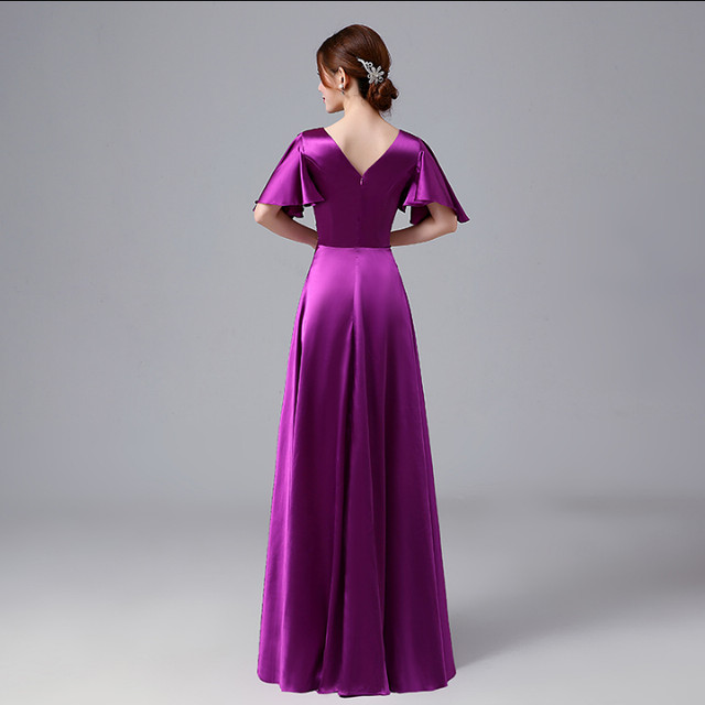 Online Shop adult fuschia bridesmaids cheap a line satin long red ... 6bf6a5a319ac