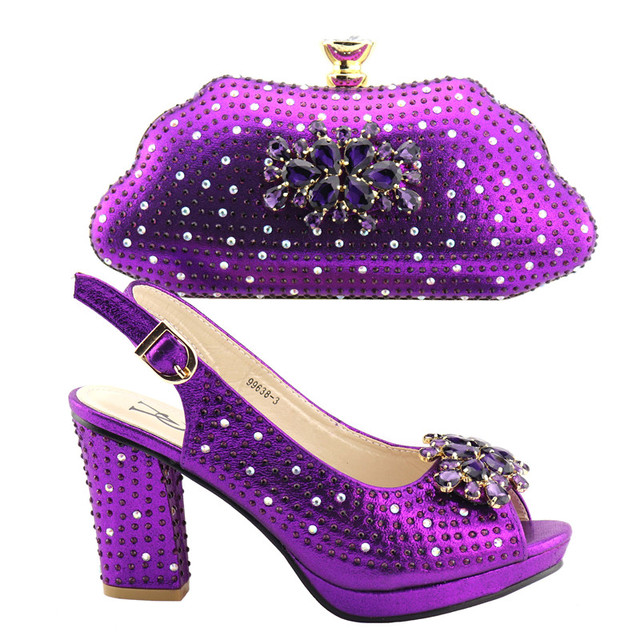 Comfortable heels 9.5cm Pumps Italian Shoes with Matching Bag Italian Design African Nigeria Shoes and Bag Set for Parties