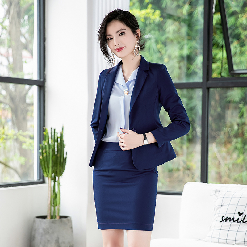 Suit Suit Ladies 2019 Summer New High Quality Solid Color Temperament Small Suit Professional Slim Overalls Nine Pants And Skirt