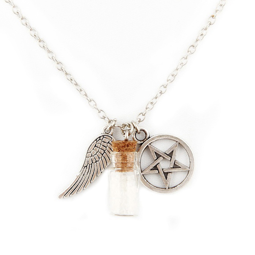 Handmade Movie Supernatural Pentacle Angel Wings Wishing Bottle Guardian Series Silver Plated Necklace Fashion Jewelry