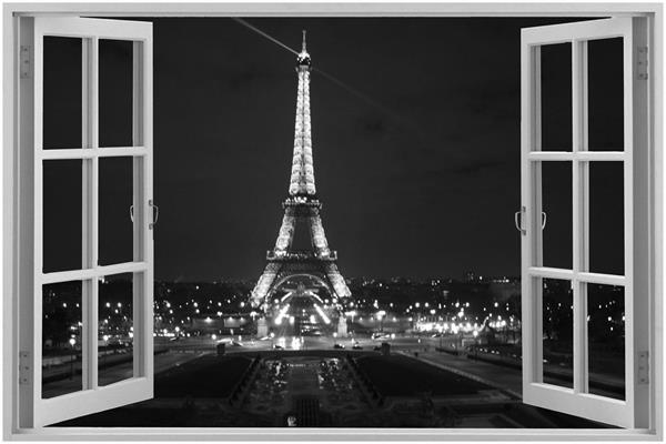 Free Shipping Window City Paris Wallpaper Eiffel Tower Poster Custom Home Decor Night Lights Architecture Wall Sticker Sticker Mural Hello Kitty Sticker Decorsticker Carbon Aliexpress